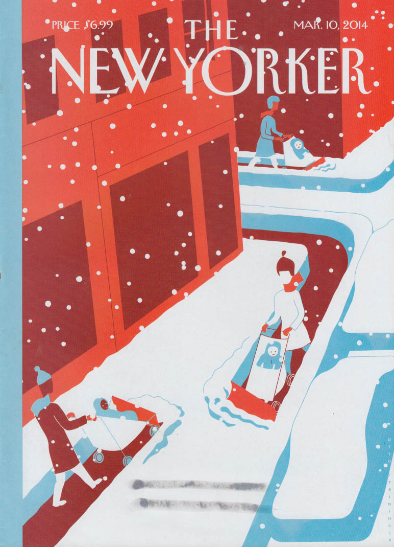 New Yorker cover 3/10 2014 Steininger: baby strollers snowplowing sidewalks