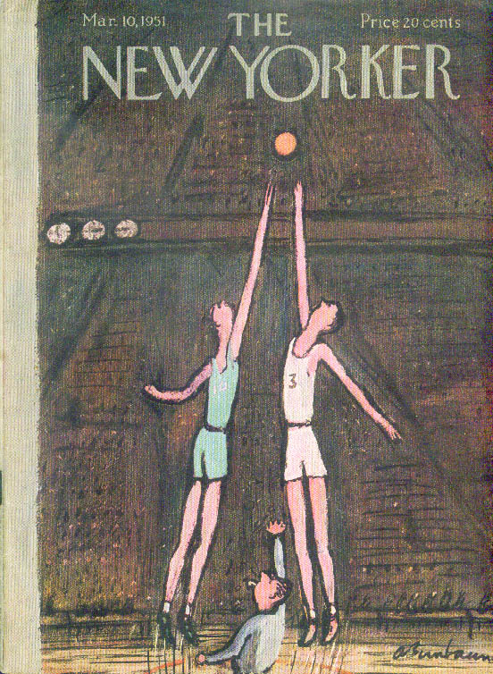 New Yorker cover Birnbaum basketball center jump at the Garden 3/10 1951