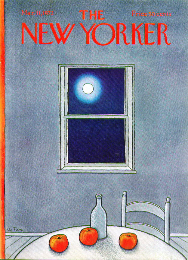 New Yorker cover Le-Tan apple still life & moon 3/11 1972