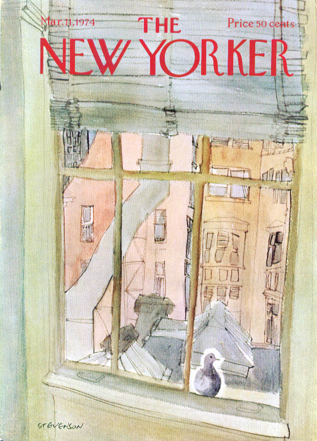New Yorker cover Stevenson rooftops with dove 3/11 1974