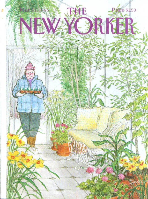 New Yorker cover Saxon seedling to greenhouse 3/11 1985