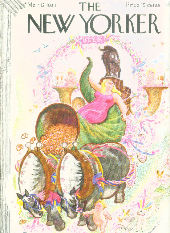 New Yorker cover Garrett Price Bock Beer diva on pretzel cornucopia 3/12 1938