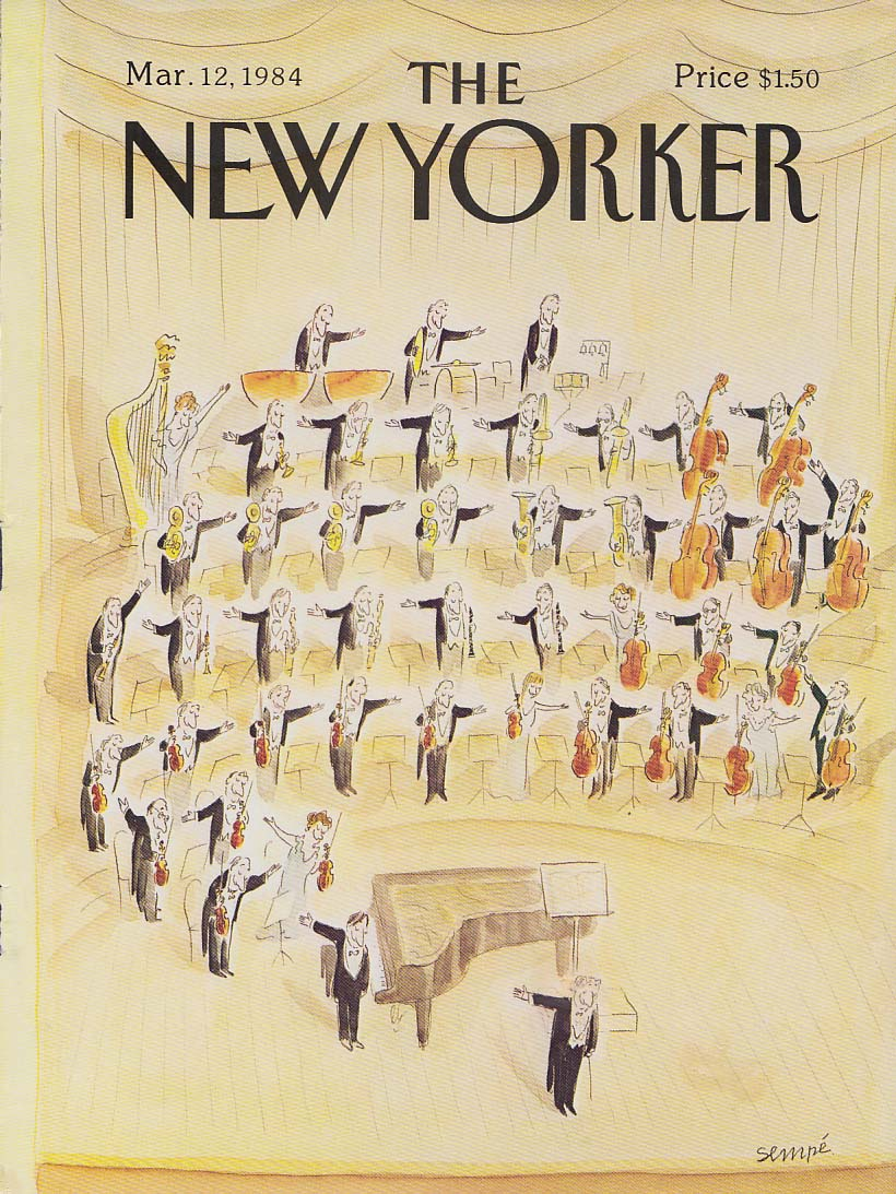 New Yorker cover 3/12 1984 Sempe orchestra & piano soloist takes a bow