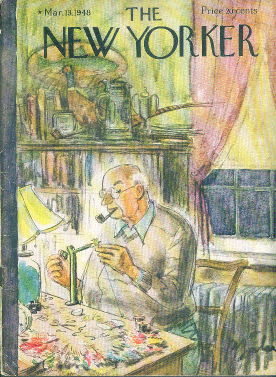 New Yorker cover Barlow old bald fisherman tying a fly 3/13 1948