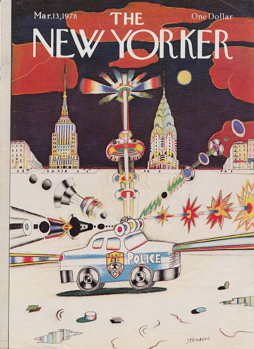 New Yorker cover 3/13 1978 Steinberg NY Police Car blaring lights & siren
