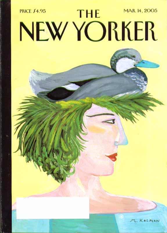 Image for New Yorker cover Maria Kalman woman with green hair & duck decoy hat 3/14 2005