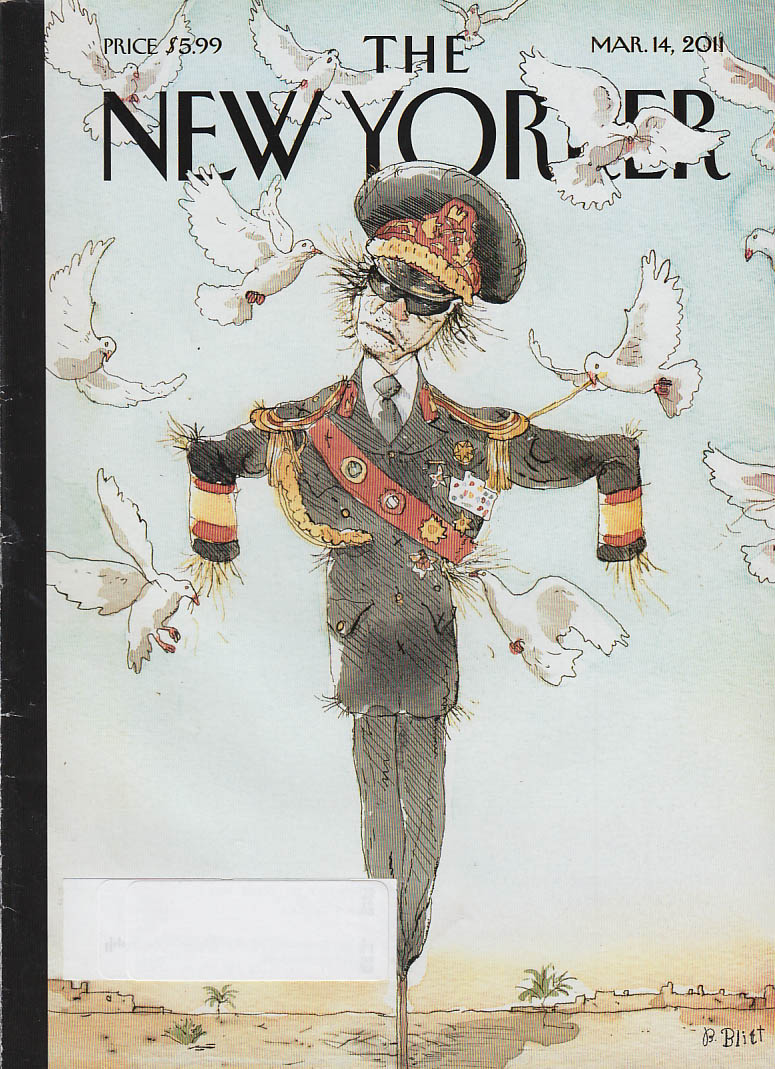 New Yorker cover 3/14 2011 Blitt: Qadaffi scarecrow picked apart by doves