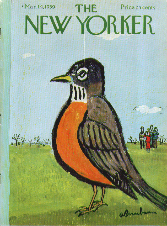 New Yorker cover Birnbaum photo op 1st robin of spring 3/14 1959