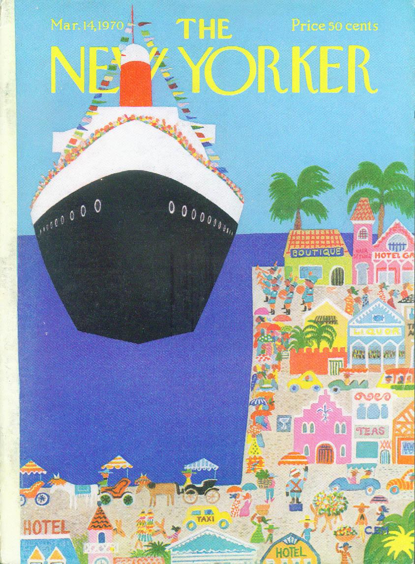New Yorker cover Martin cruise ship Caribbean 3/14 1970