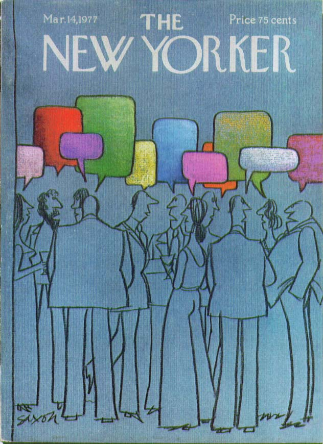 New Yorker cover Saxon empty word balloons 3/14 1977