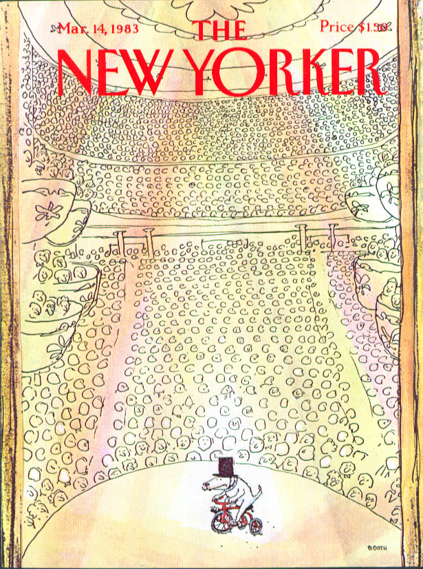 New Yorker cover Booth dog trick Carnegie Hall 3/14 1983