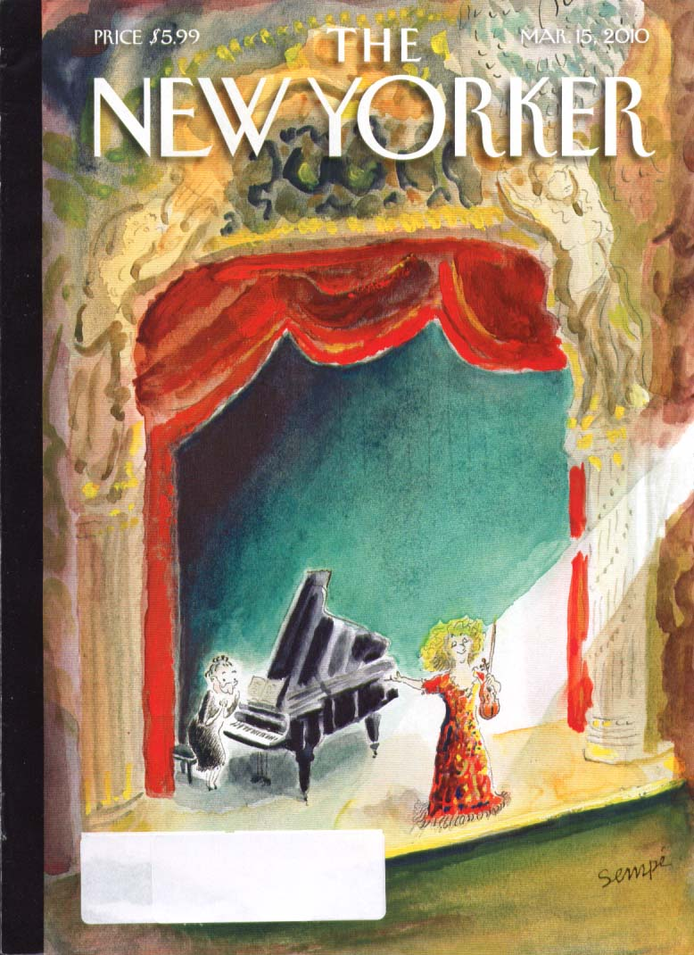 New Yorker cover 3/15 2010 Sempe: lady violinist points to accompanist