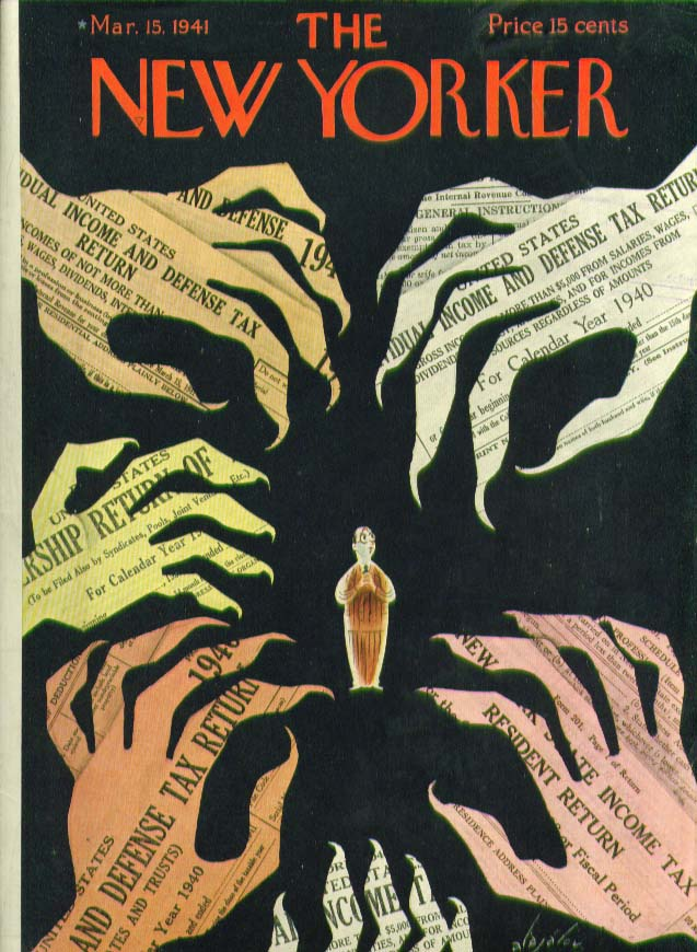 New Yorker cover Alajalov Income Tax claws 3/15 1941