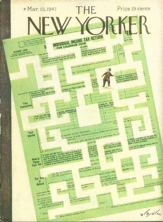 New Yorker cover Alajalov Income Tax maze 3/15 1947
