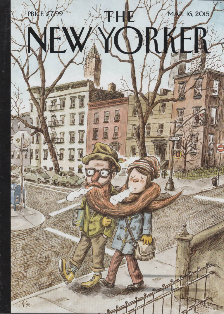 New Yorker cover 3/16 2015 Liniers: his long beard serves as her scarf