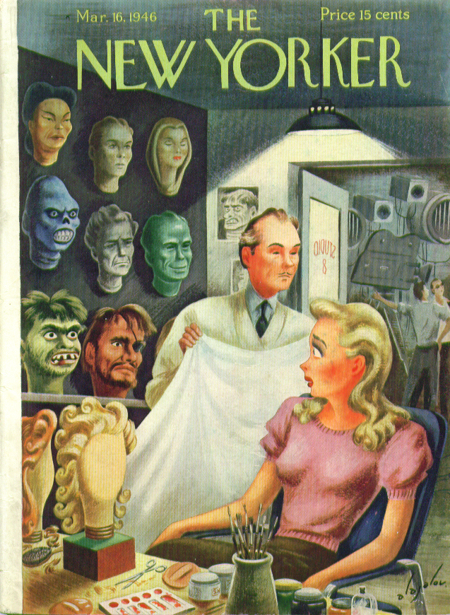 New Yorker cover Alajalov horror movie makeup man 3/16 1946