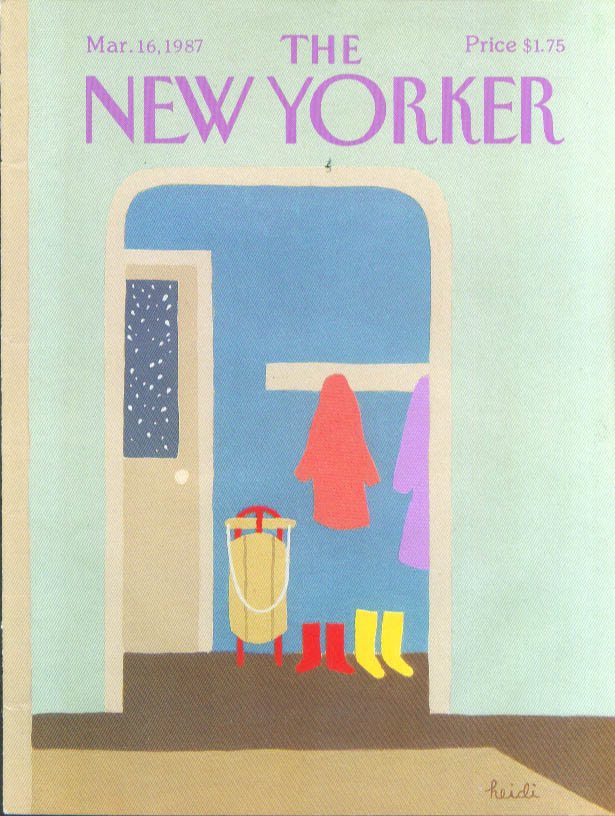 New Yorker cover Heidi sled galoshes mudroom 3/16 1987