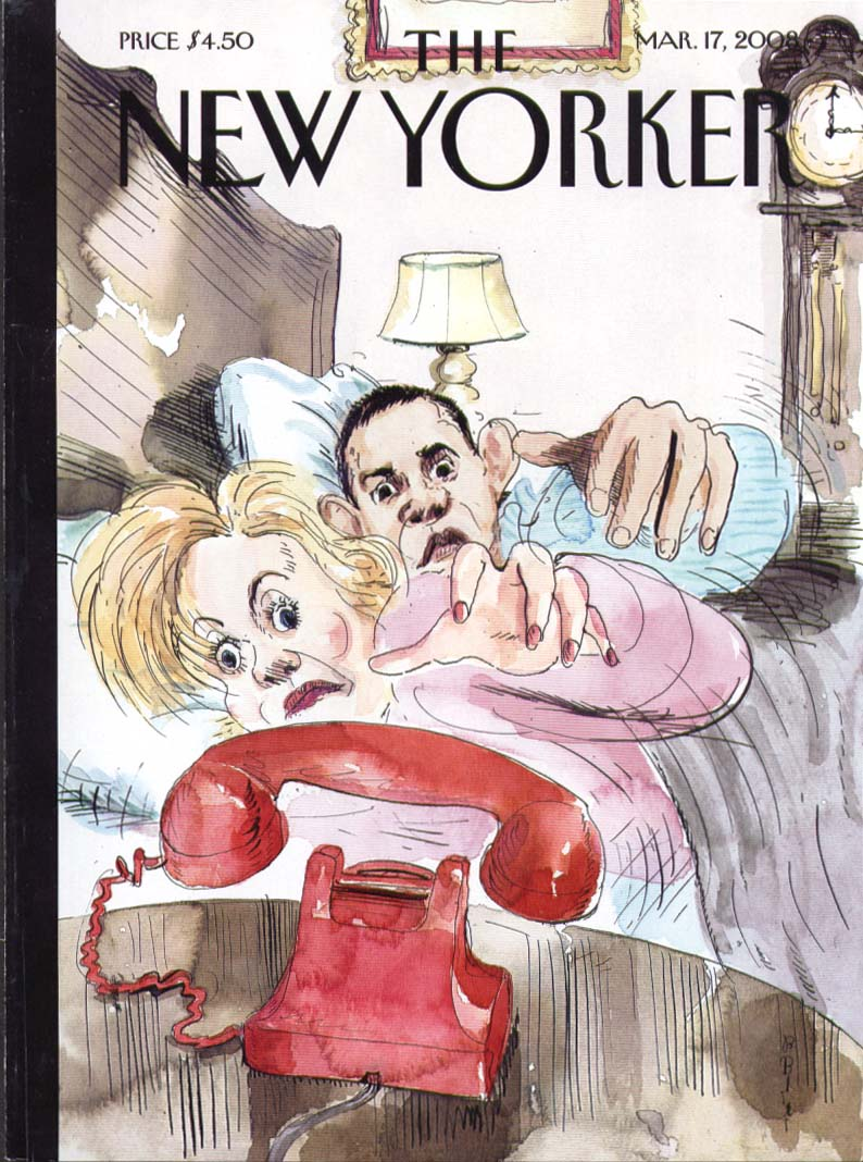 New Yorker cover Blitt Obama & Hilary in bed reaching for red phone 3/17 2008