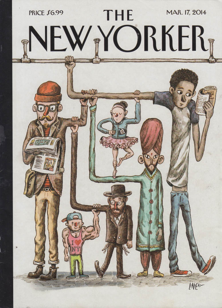 New Yorker cover 3/17 2014 Liniers: human arms used as subway grab-bars