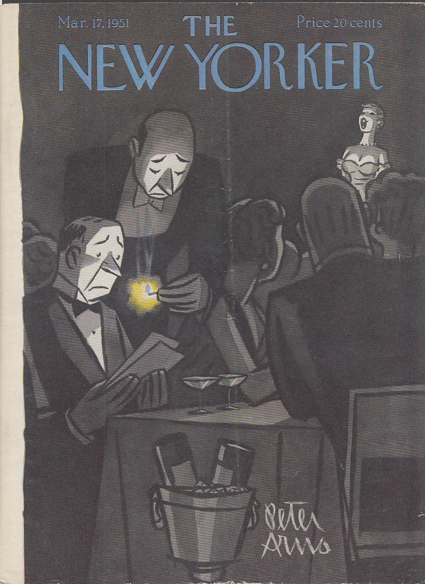 New Yorker cover Arno matchlit menu nightclub 3/17 1951