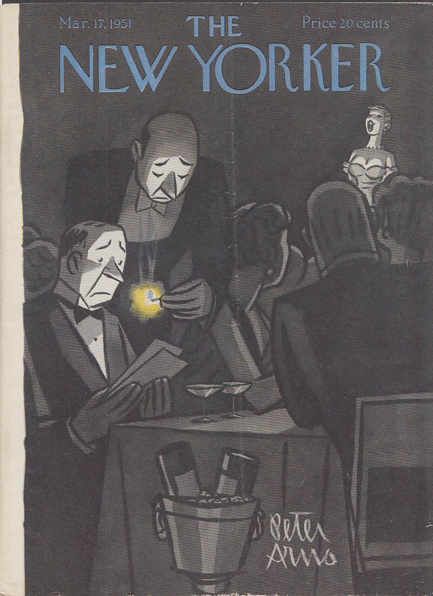 New Yorker cover Arno matchlit menu nightclub 3/17 1951
