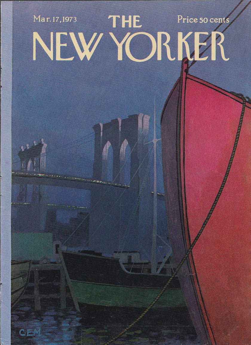 New Yorker cover Martin Brooklyn Brodge boats 3/17 1973