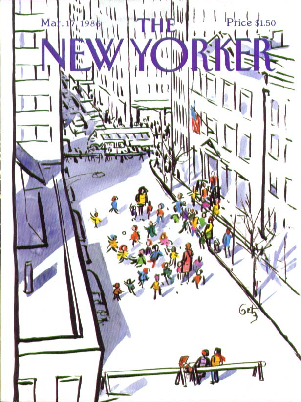 New Yorker cover Getz block closed at recess 3/17 1986