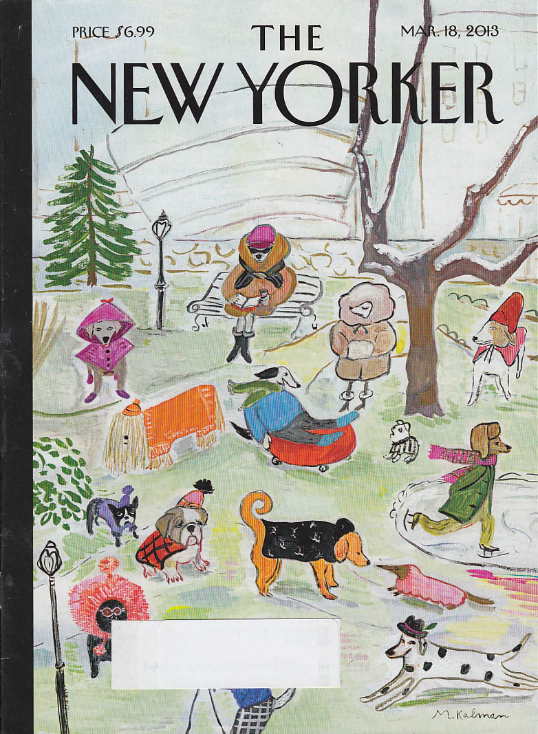 New Yorker cover 3/18 2013 Kalman: fashionista dog outfits at the park