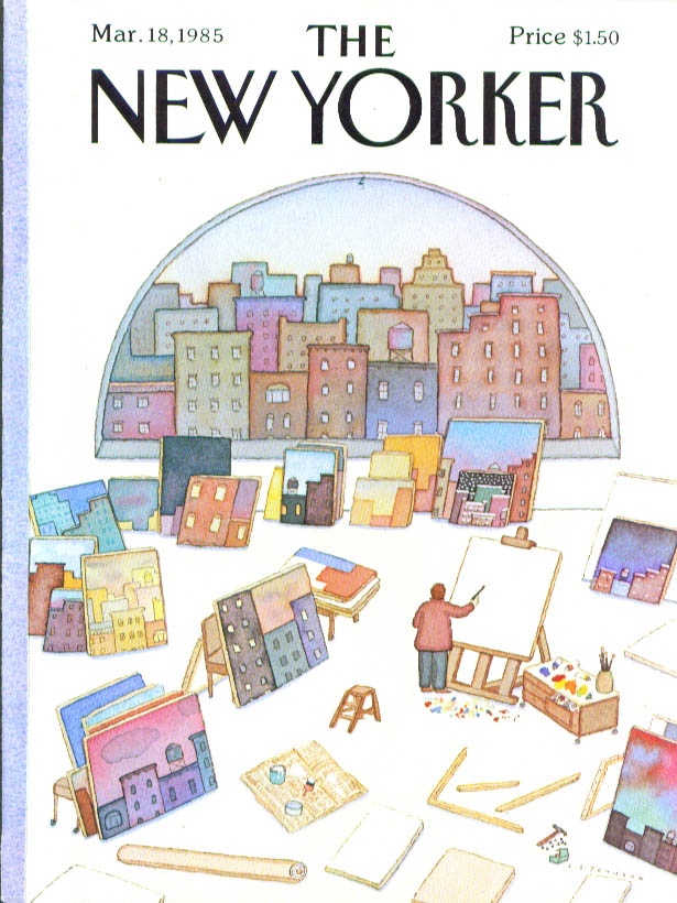 New Yorker cover Johnson painter repeats view 3/18 1985