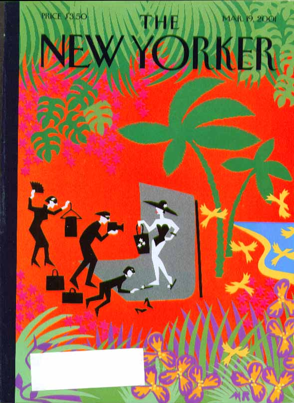 Image for New Yorker cover MR black & white outfits in tropical photo shoot 3/19 2001