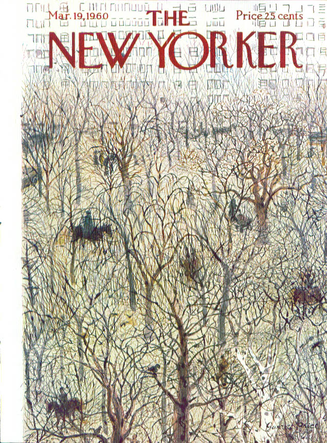 New Yorker cover Price horses bare trees 3/19 1960