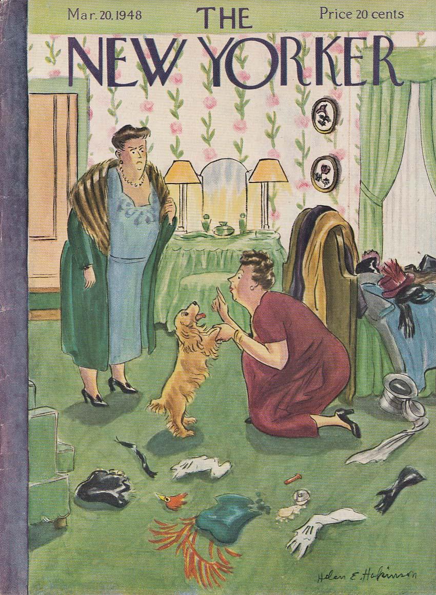 New Yorker cover Hokinson cocker spaniel 3/20 1948