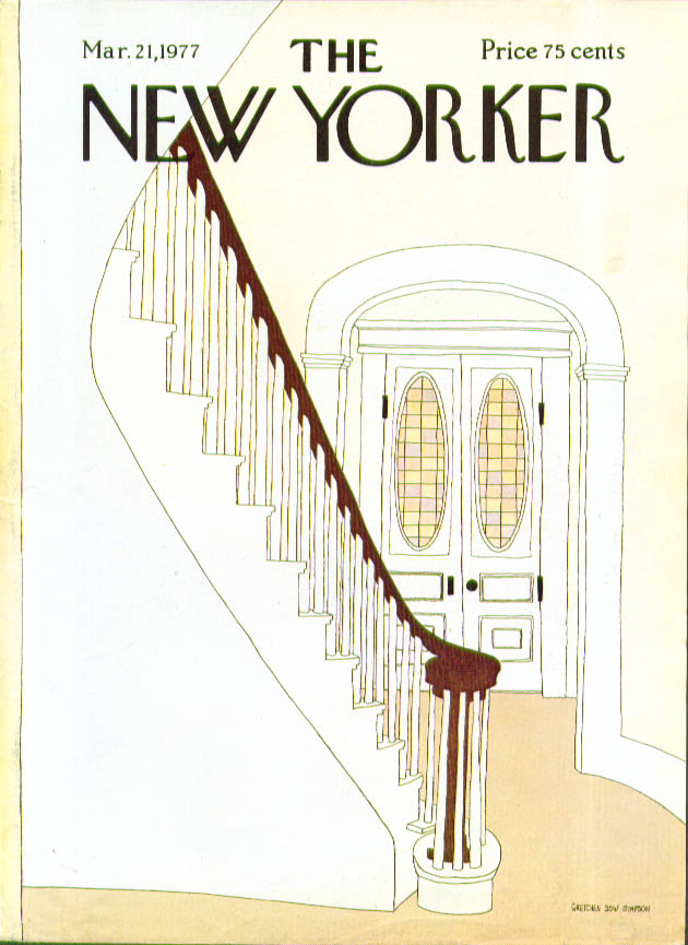 New Yorker cover Simpson spiral stairs 3/21 1977