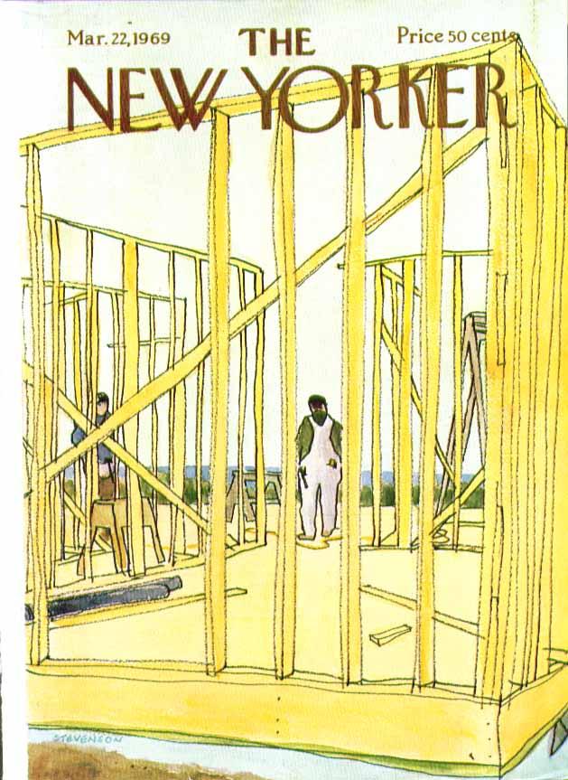 New Yorker cover Stevenson framing a house 3/22 1969