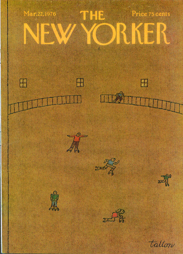 New Yorker cover Tallon rollerskating rink 3/22 1976