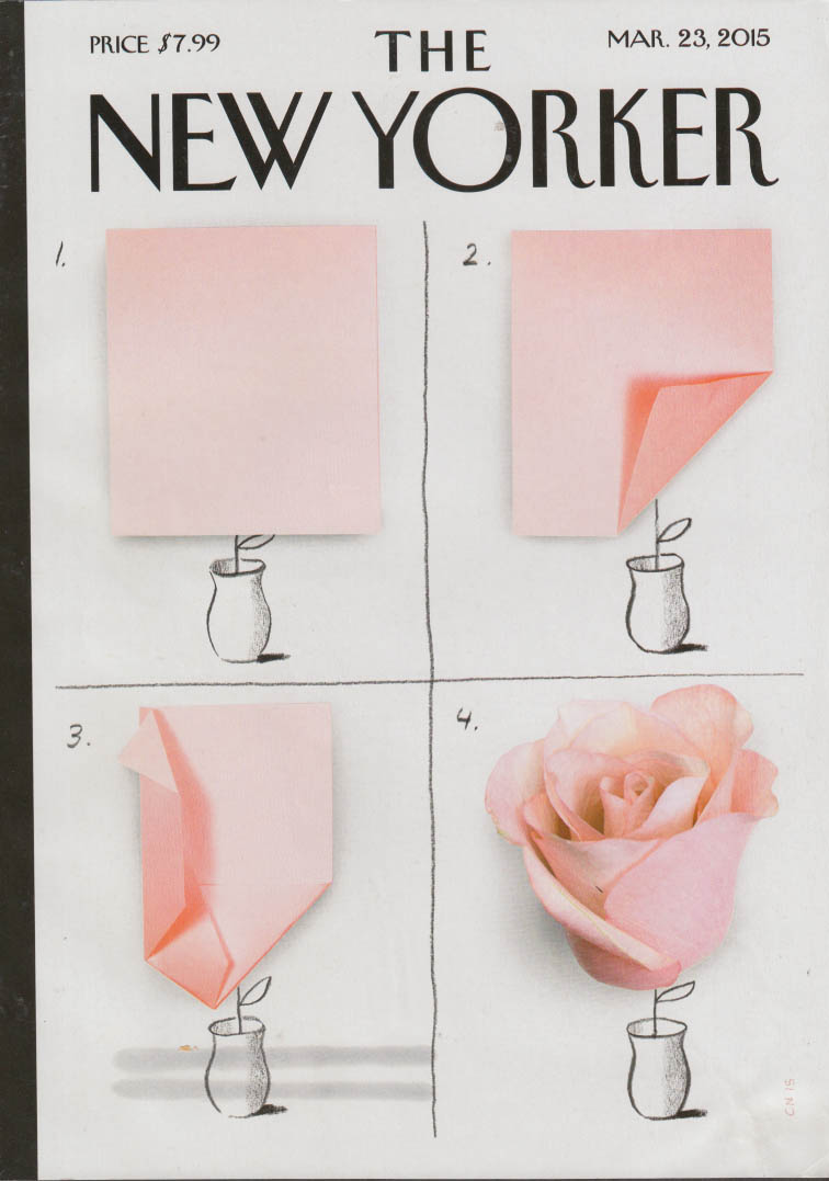 New Yorker cover 3/23 2015 Niemann: origami rose in four panels