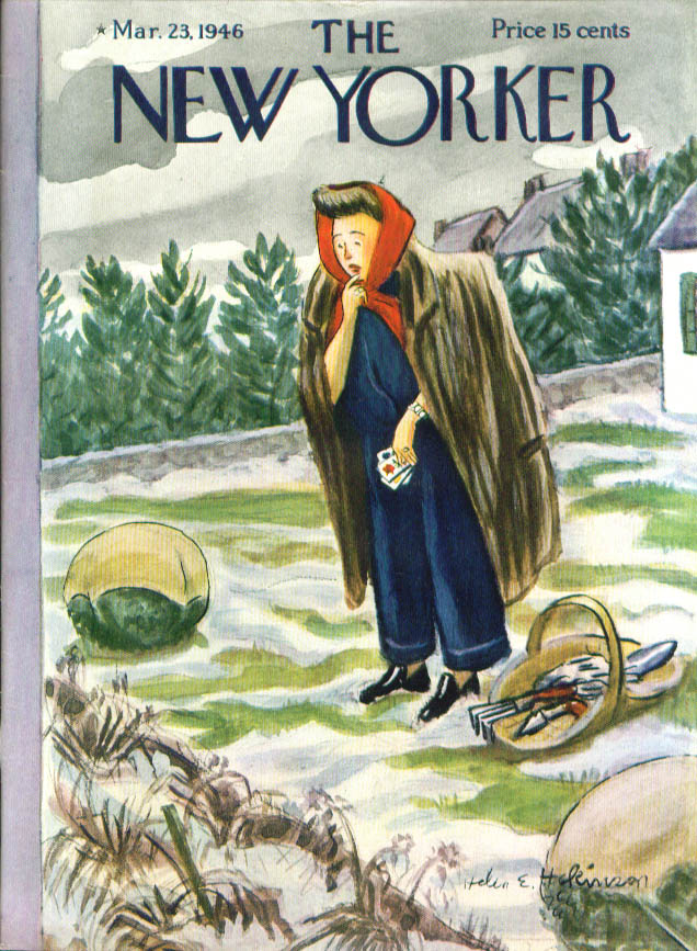 New Yorker cover Hokinson lady in fur seeds 3/23 1946