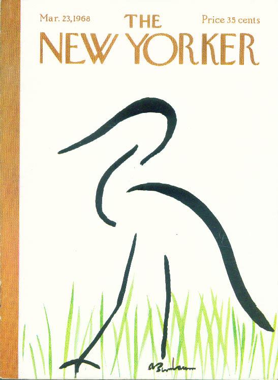 New Yorker cover Birnbaum wading bird & grass 3/23 1968