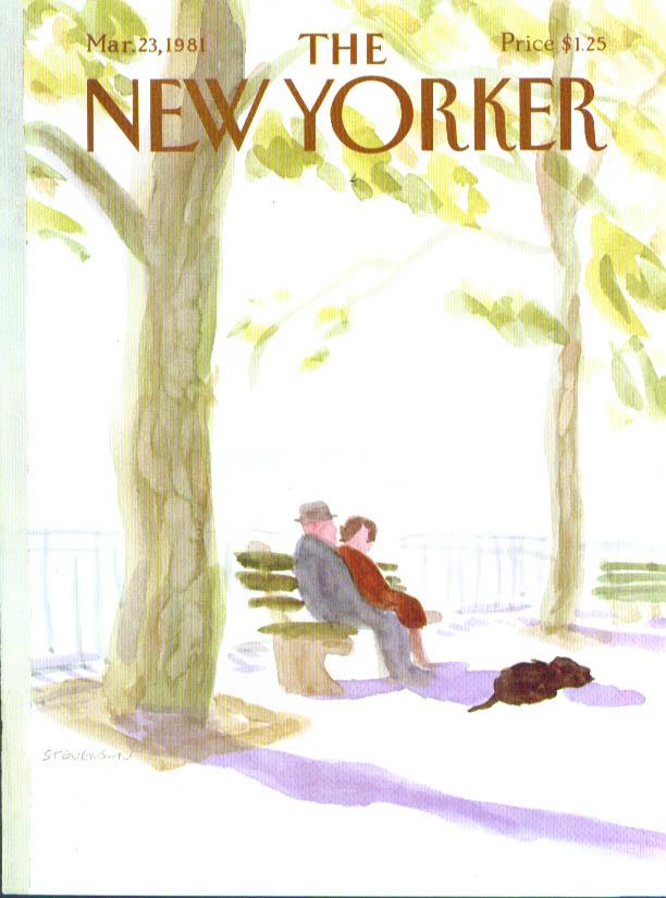 New Yorker cover Stevenson couple park bench 3/23 1981