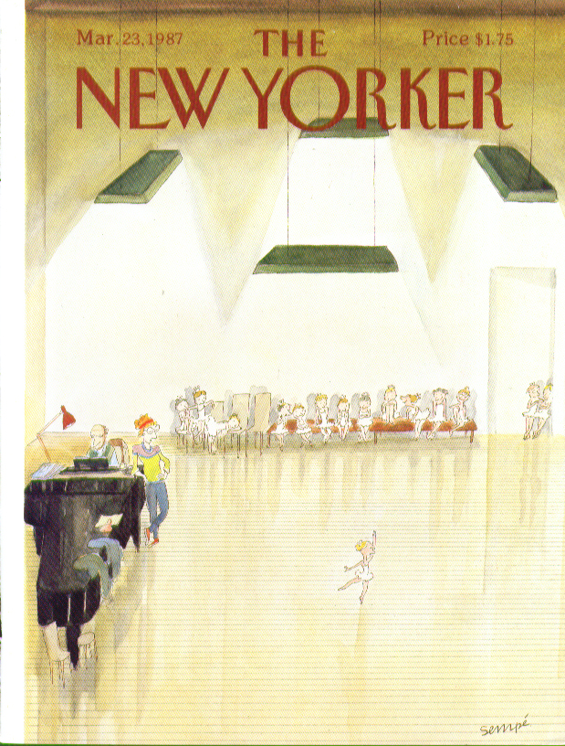 Image for New Yorker cover Sempe little girl ballerina does a solo 3/23 1987