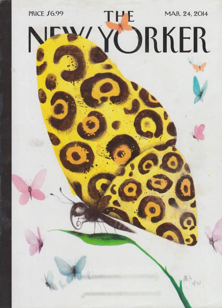 New Yorker cover 3/24 2014 Ana Juan butterfly motifs