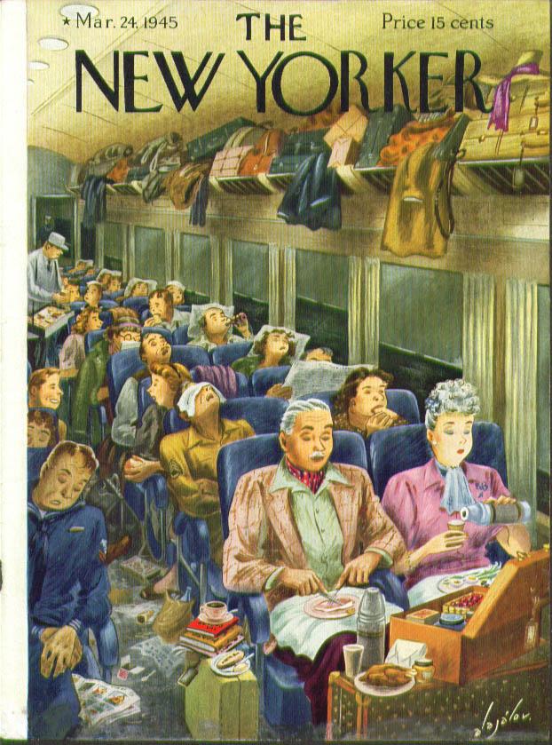New Yorker cover Alajalov picnic on train 3/24 1945