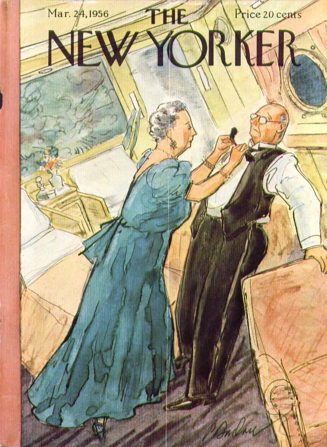 New Yorker cover Barlow wife ties husband's bowtie on pitching ship 3/24 1956