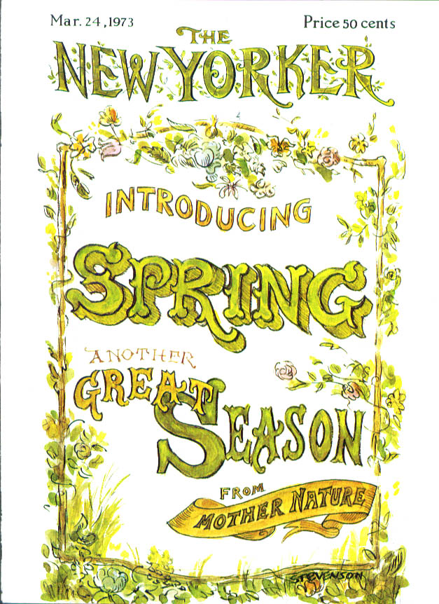 New Yorker cover Stevenson Introducing Spring 3/24 1973