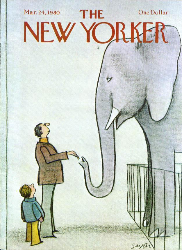 New Yorker cover Saxon man feeds elephant 3/24 1980