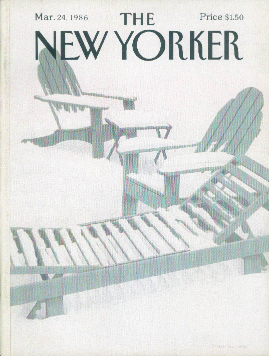 New Yorker cover Simpson snow lawn chair 3/24 1986