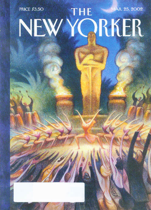 New Yorker cover CG pagan worship of the Oscar Statuette god 3/25 2002