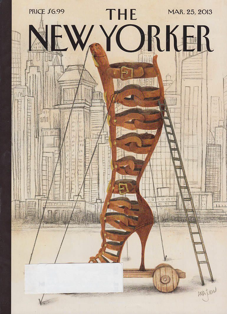 New Yorker cover 3/25 2013 Juan: wheeled wooden shoe in the park