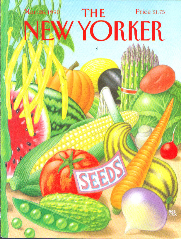 New Yorker cover Knox seeds & vegetables 3/26 1990