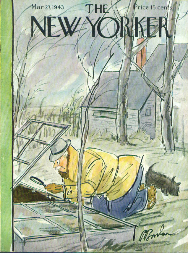 New Yorker cover Barlow looking for sprouts 3/27 1943